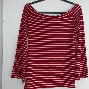 Red and White Striped Off the Shoulder Top